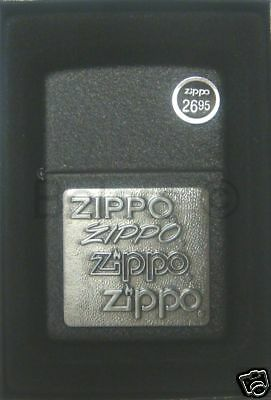 Zippo Pewter Emblem Black Crackle - Zippo Pewter Emblem Black Crackle Lighter Model 363 NEW