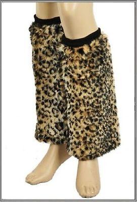 Fashion Faux Fur Leopard Print Leg Warmers w/elastic top ribbed band. One Size.
