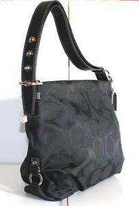 coach gray purse 7fh3  Coach Black Signature Duffle