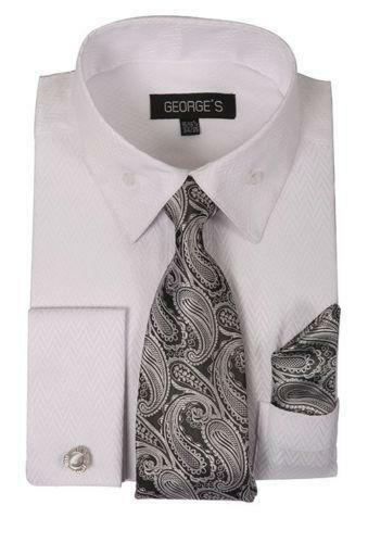 Mens french cuff shirts ebay for Mens white french cuff shirt