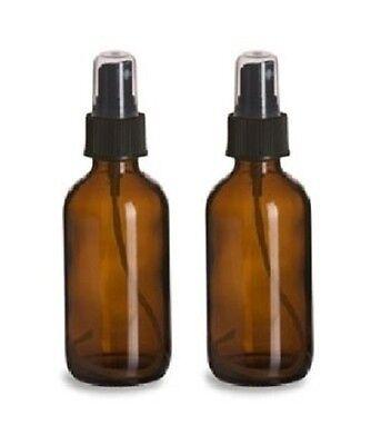 2 Amber 4oz Boston Round Glass Bottle Black Spray Fine Ribbed Mist Sprayer120ml