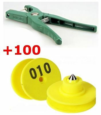Sheep Goat Pig Cattle Beef Cow Ear Tag Plier Applicator Puncher Tagger 100 Set