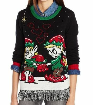 NEW Ugly Christmas Sweater Juniors Elf Love Pullover Fringe Bottom, Black, Small](Ugly Elf Sweater)
