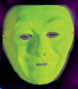 Neon Green Plastic Face Mask Drama Theatrical Fancy Dress #1: $ 35 JPG