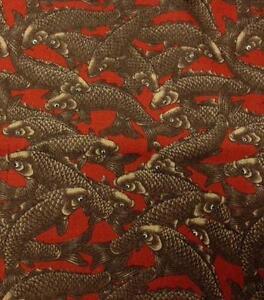 Fish fabric ebay for Koi fish print fabric