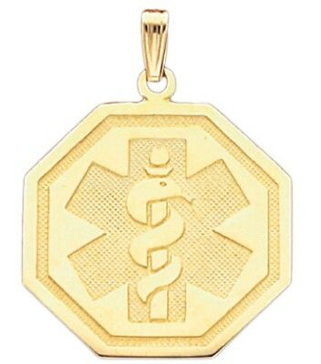 10k or 14k Yellow Gold Medical Alert ID Octagon Pendant Charm