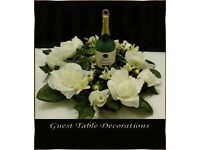 10 Sharon Ivory Wedding Guest Table Decorations Wreath Style, Ivory Dew Drop Roses With Ivy