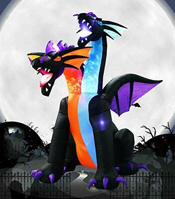 7 Ft Halloween Inflatable Dragon Decorations with 2 Heads for Home Garden Lawn