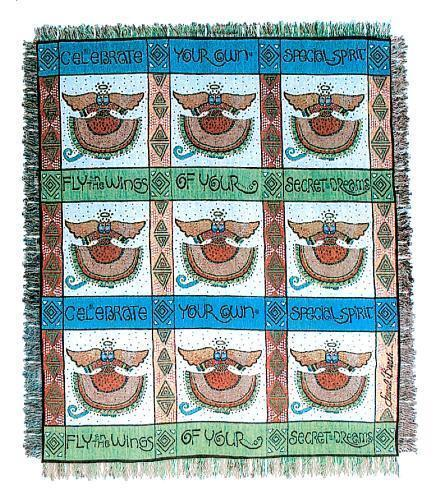 Laurel Burch Angel Cat Afghan Throw Tapestry Blanket With Fringe New
