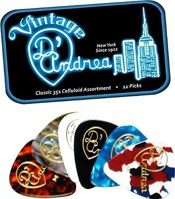 D'ANDREA 351 VINTAGE CLASSIC CELLULOID Guitar Picks .46MM THIN 12 pick Tin Box