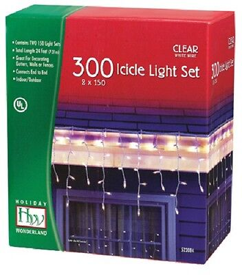 Holiday Wonderland 14084W-88 300 Count Clear Icicle Christmas Light Set ()