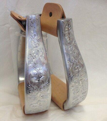 Engraved Polished Aluminum Silver Western Horse Show Pleasure Saddle Stirrups