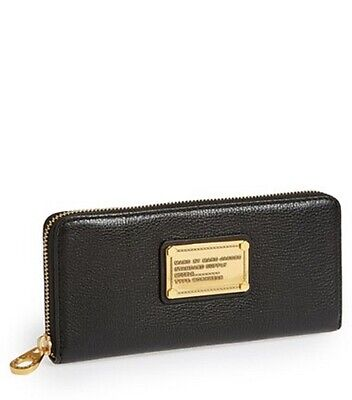 NWT MARC by MARC JACOBS Classic Q Slim Zip Continental Wallet BLACK