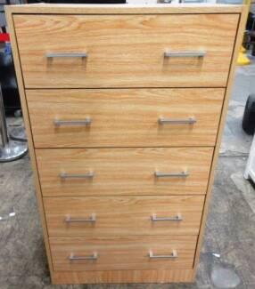 Tallboy, timber laminate, natural finish, 5 drawer