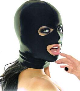 Black Spandex Latex Mask fancy dress Hood, wet look PVC eyes and mouth...