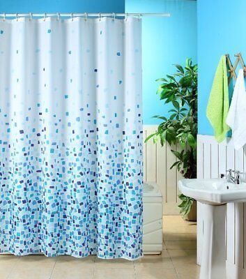 Polyster Blue and white Mosaic Washable Shower Curtain 180 x 180cm + FREE HOOKS  Blue Mosaic Shower Curtain