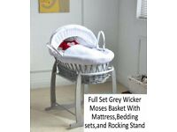 Baby basket moses crib bassinet nearly new, only used 3 times! Excellent condition gray white