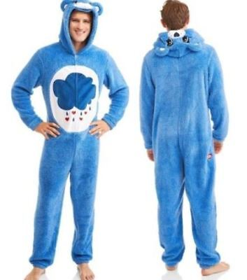 L GRUMPY Care Bear Mens Union Suit Bedtime Blue Halloween Costume Pajamas Adult](Mens Care Bear Costume)