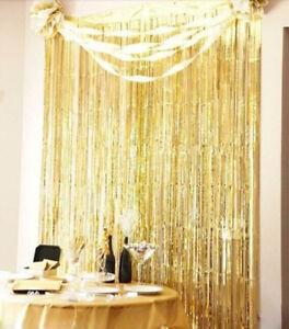3' x 8' *Foil Fringe Metallic Curtain Party Graduation Prom Celebrate Decoration