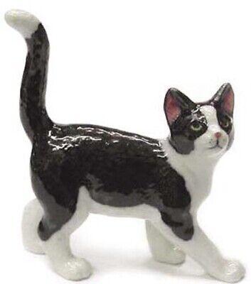 ➸ NORTHERN ROSE Miniature Figurine Black and White Cat Miniature Cat Figurine