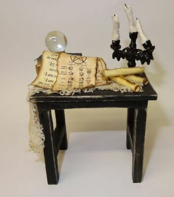 Dollhouse Halloween Magic Spell Table Bent Bat Candelabra Crystal Ball Miniature](Halloween Spell)