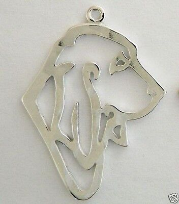 Hound Dog Outline Head Traditional Charm Jewelry - 925 Sterling Silver Metal