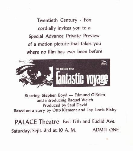 Vintage 1966 FANTASTIC VOYAGE movie screening pass