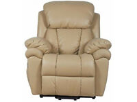 gs060741 Paignton Luxor Dual Motor Leather Riser Recliner Chair Armchair Cream Brand New
