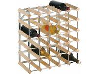 30 Bottle Wine Rack - Natural Pine / Steel