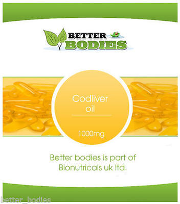 Cod Liver Oil 1000mg High Strength 7 to 360 Sofgels Capsules Better