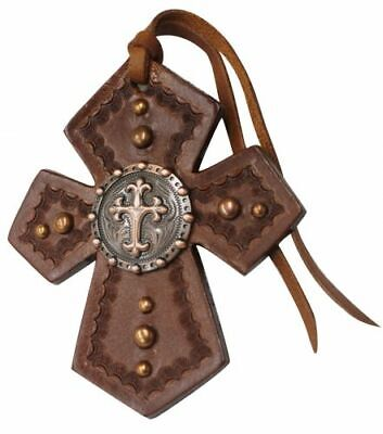 Showman SADDLE TIE ON CROSS Medium Leather with Copper CELTIC CROSS Concho
