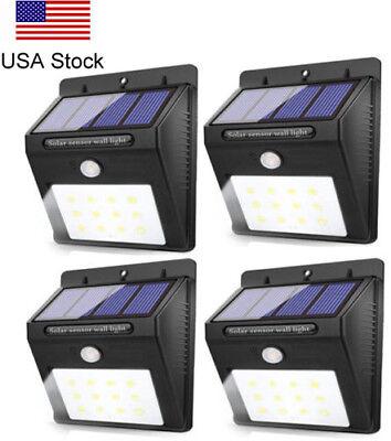 4PK 12LED Solar Power PIR Motion Sensor Garden Yard Wall Outdoor Path Light Lamp