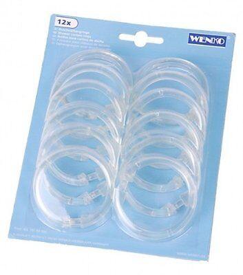 12 Wenko Duschvorhangringe rund transparent  60 mm Ringe für Duschvorhang