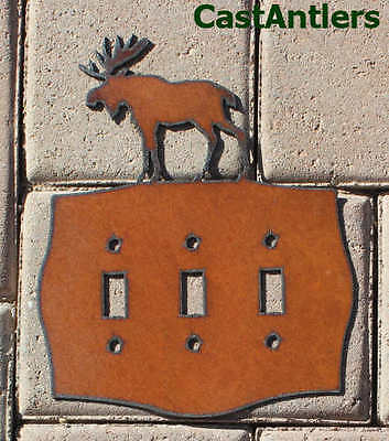 2 Pack: Moose Triple Light Switch Plate Cover Metal Western Rustic Lodge (2 Triple Switchplate Cover)