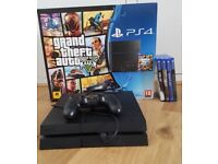 Playstation 4 PS4 console with controller and GTA 5