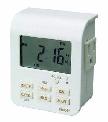 Woods 50009WD Indoor 7-Day Heavy Duty Digital Plug-In Timer 2 Grounded Outlets ()