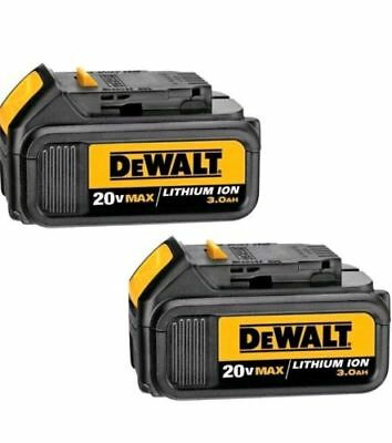 (2) Dewalt 20v 20 Volt Max 3.0 AH Lithium Ion Battery packs w/ Fuel Gauge DCB200