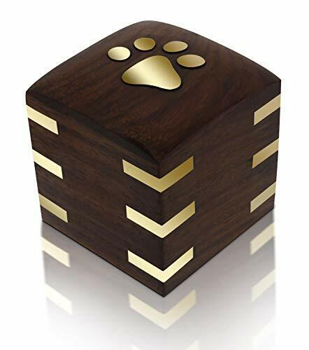 Rosewood Wooden Pet Urn for Dogs or Cats with Brass Paws and Brass Corners (Tin