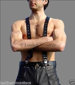 Leder Hosenträger Lederhosenträger mit Clips Suspenders Leather cuir