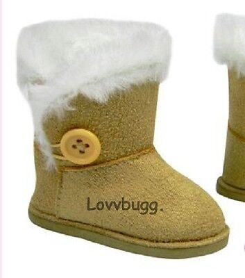 "Lovvbugg Tan Button Shearling Ewe Uggly Boots for 18"" American Girl or Boy or Bitty Baby Doll Shoes"