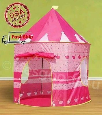 PORTABLE FOLDING PINK PLAY TENT CHILDRENS KIDS CASTLE CUBBY