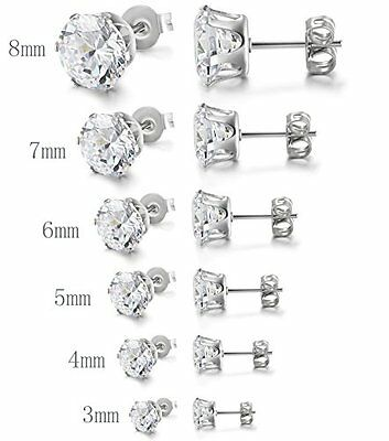 Cubic Zirconia Stud Earrings Stainless Steel 3mm-8mm (Men or Women)