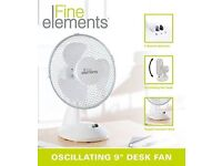 Fine Elements Oscillating Desk Pedestal Standing Cooling Air Fan, 9 Inch, White