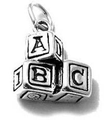 925 Sterling Silver ABC Blocks Charm ()