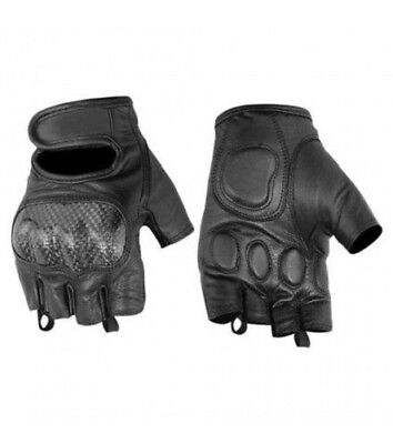Mens Womens Knuckle Leather Summer Fingerless Black Motorcycle Riding Gloves