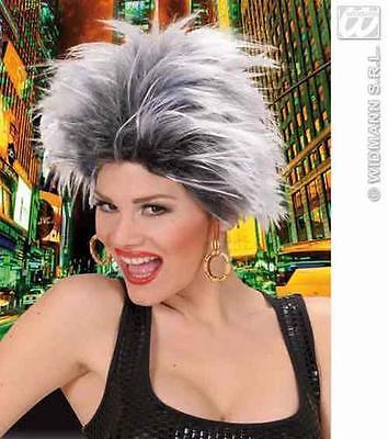 White & Black Spikey Wig With Earrings Rock Goth Rocker Tina Turner Fancy Dress (Tina Turner Halloween)