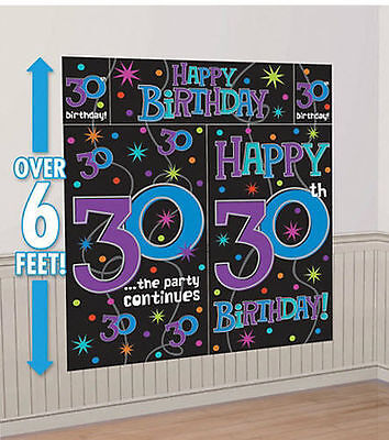 HAPPY 30th BIRTHDAY scene setter party wall decoration 6' celebrate milestone - Purple 30th Birthday Decorations
