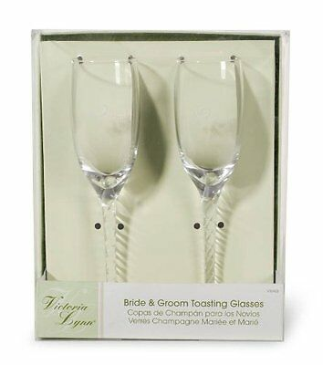 New 2 Wedding Glasses Champagne Flute Toast Bride Groom Set Twsited Stem Elegant](Wedding Toast Glasses)