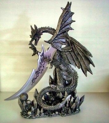 """Dragon Knife Dagger Large Figurine Statue Gothic Black 13.25"""" Tall Collectible"""