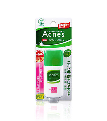 Rohto Mentholatum Acnes Medicated UV Tint Milk Sunscreen SPF50+/PA++ 30g Japan